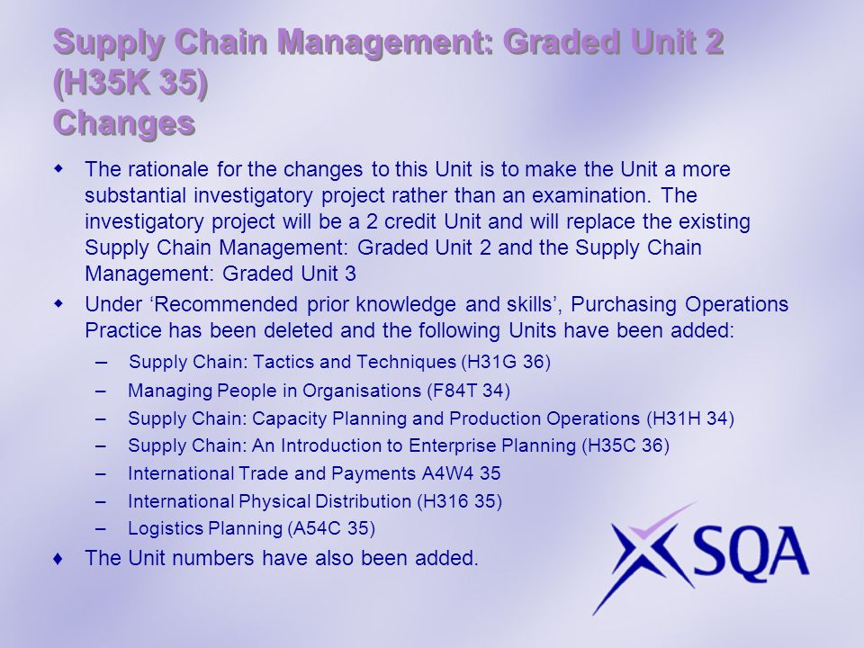 Supply Chain Management: Graded Unit 2 (H35K 35) Changes