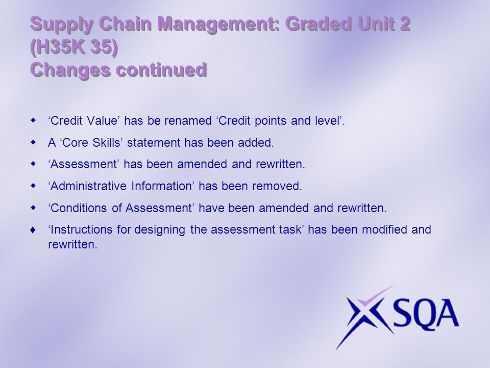 Supply Chain Management: Graded Unit 2 (H35K 35) Changes continued