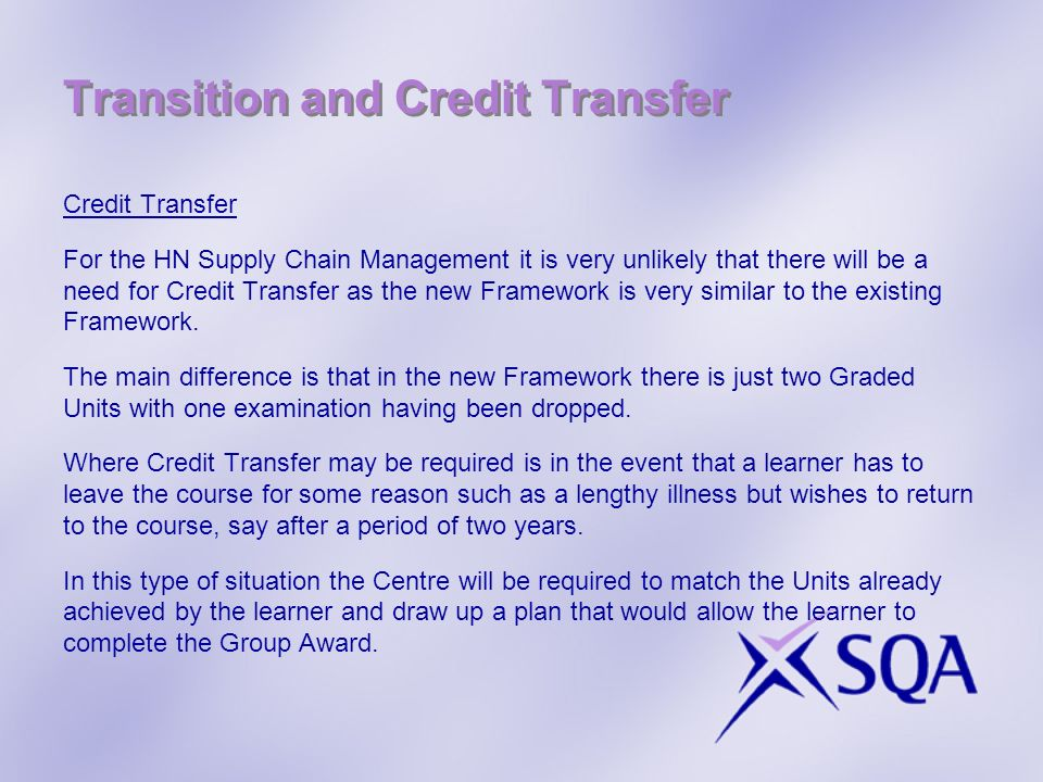 Transition and Credit Transfer
