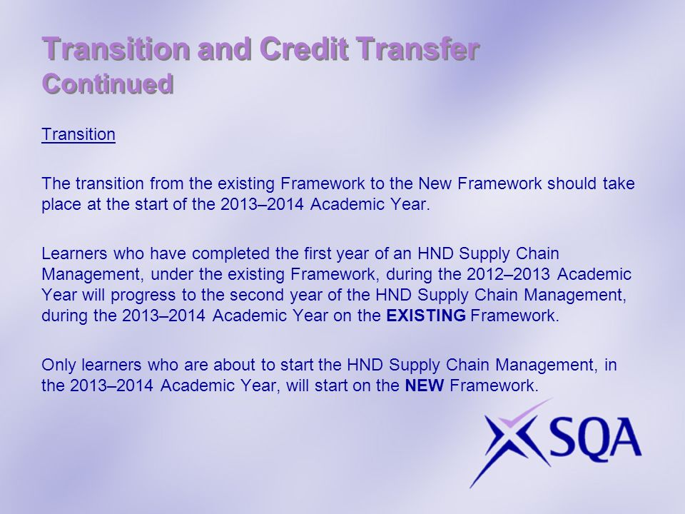 Transition and Credit Transfer Continued