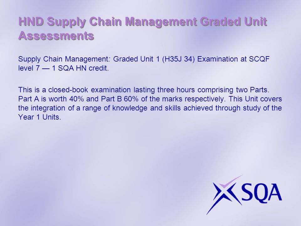 HND Supply Chain Management Graded Unit Assessments