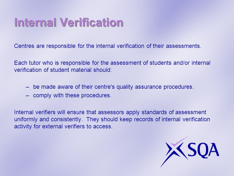 Internal Verification