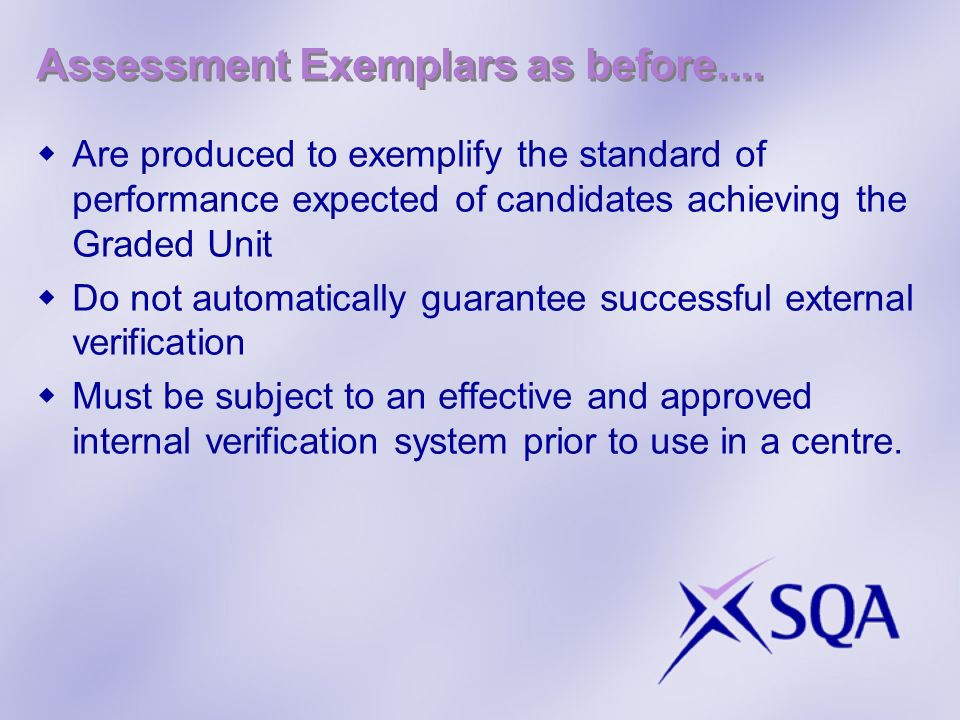 Assessment Exemplars as before....