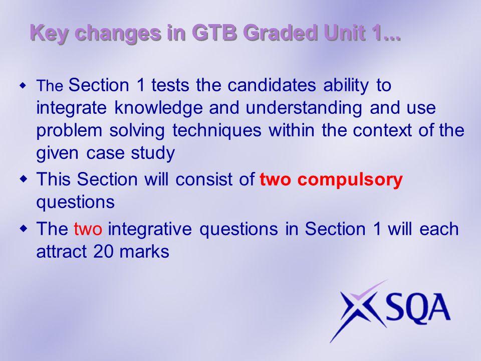 Key changes in GTB Graded Unit 1...