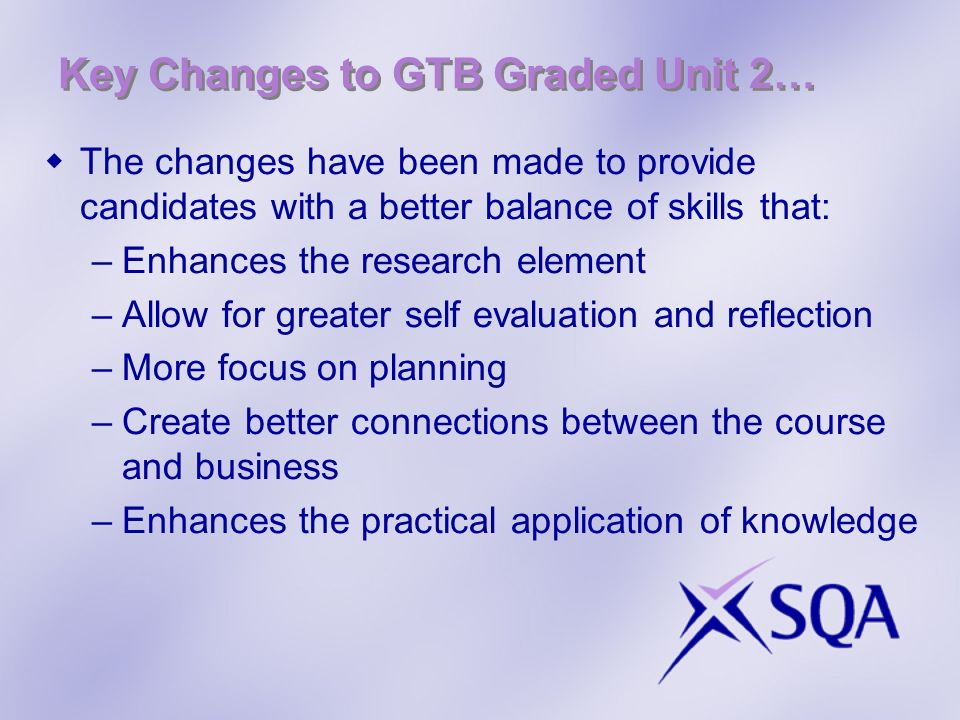 Key Changes to GTB Graded Unit 2…