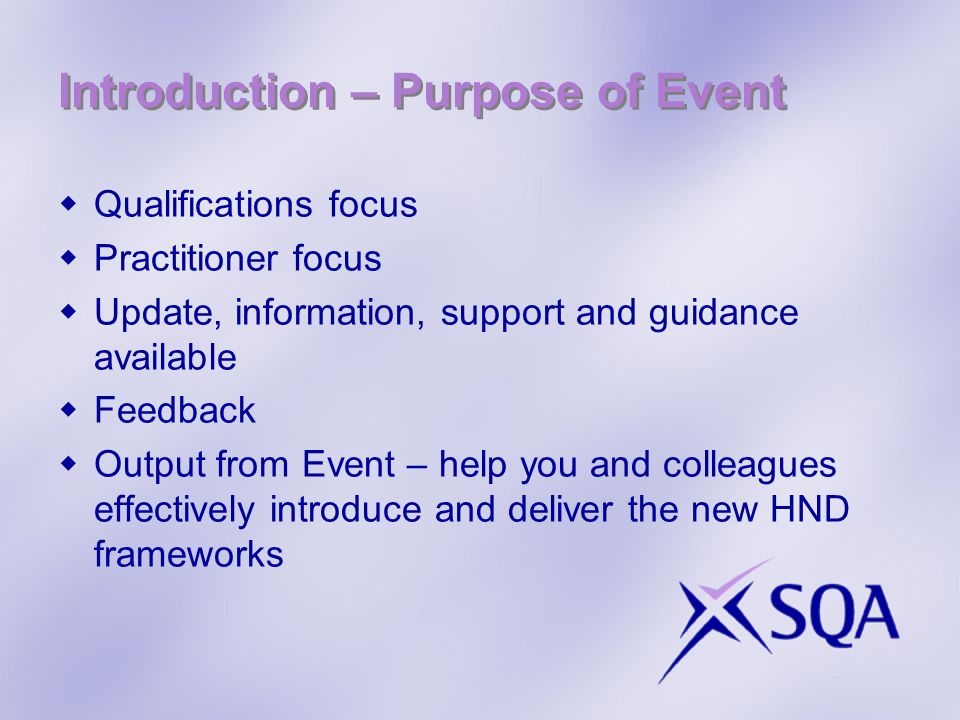 Introduction – Purpose of Event