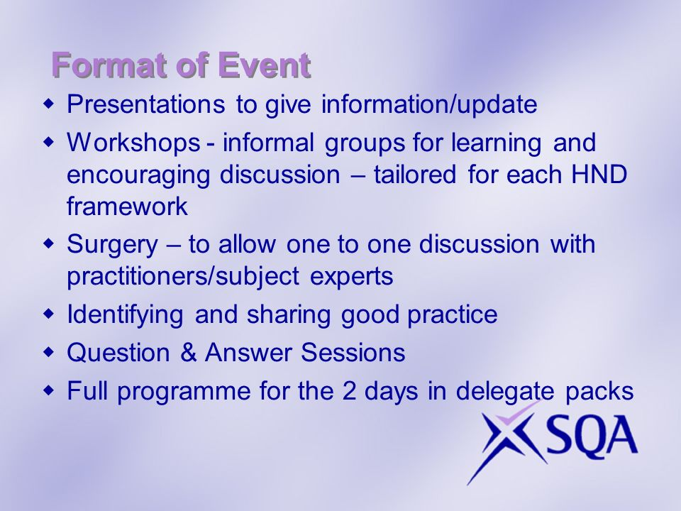 Format of Event Presentations to give information/update