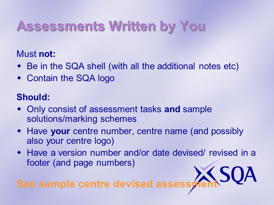 Assessments Written by You