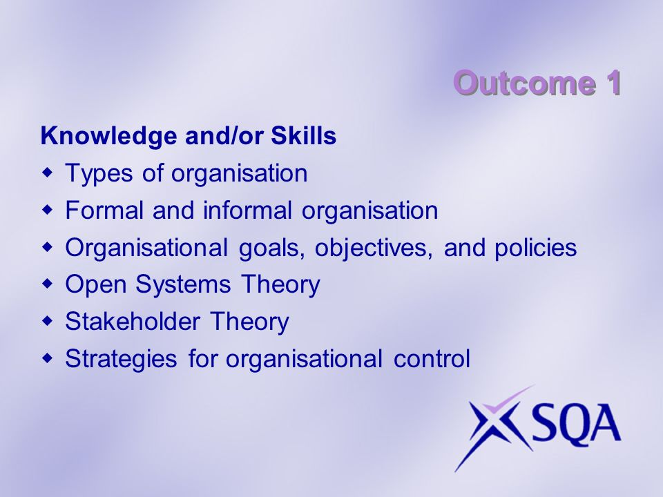 Outcome 1 Knowledge and/or Skills Types of organisation