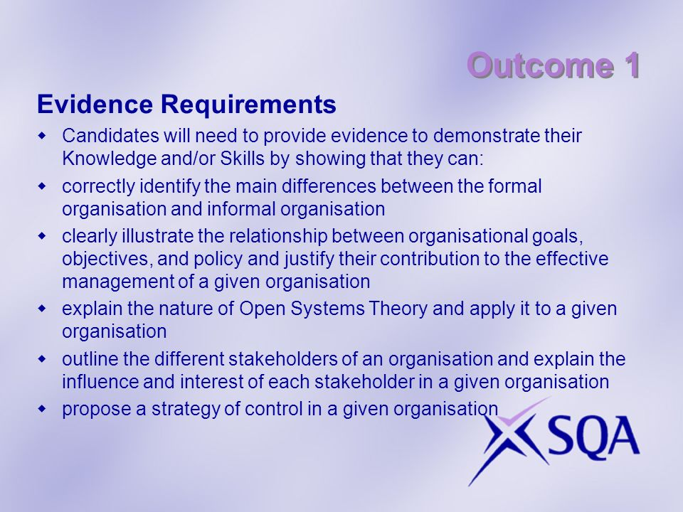 Outcome 1 Evidence Requirements