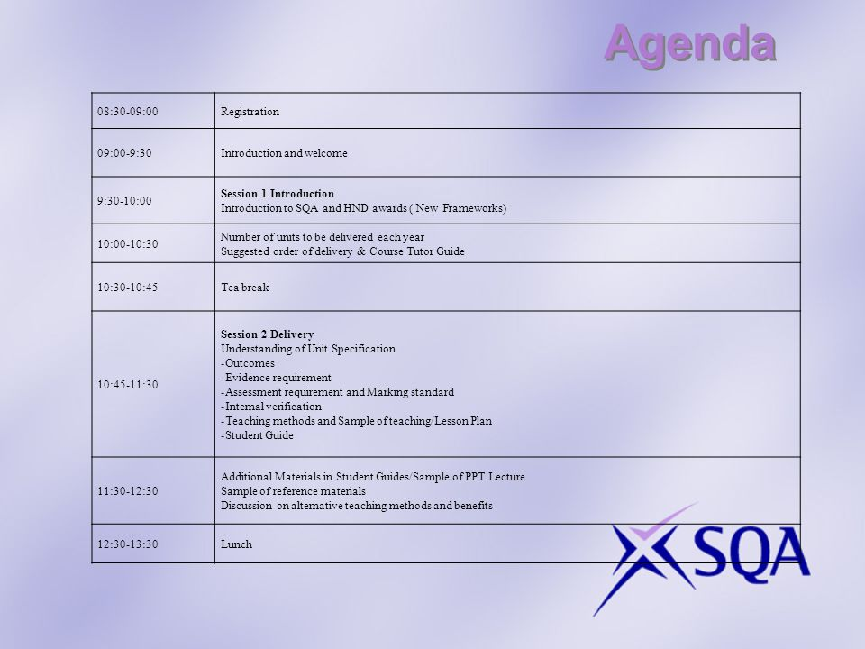 Agenda 08:30-09:00 Registration 09:00-9:30 Introduction and welcome