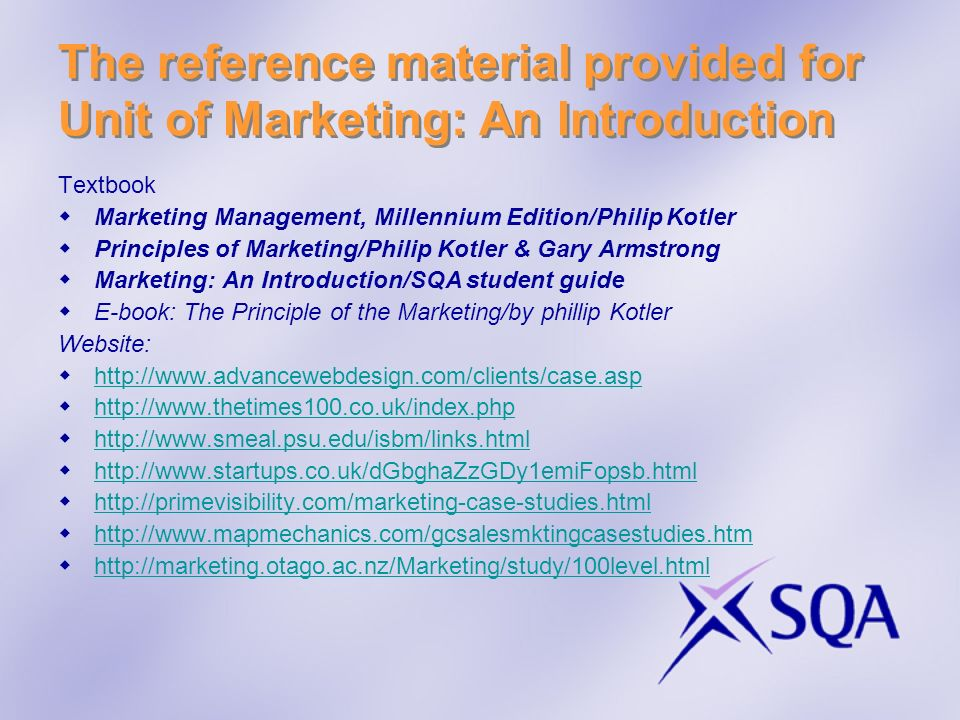 The reference material provided for Unit of Marketing: An Introduction