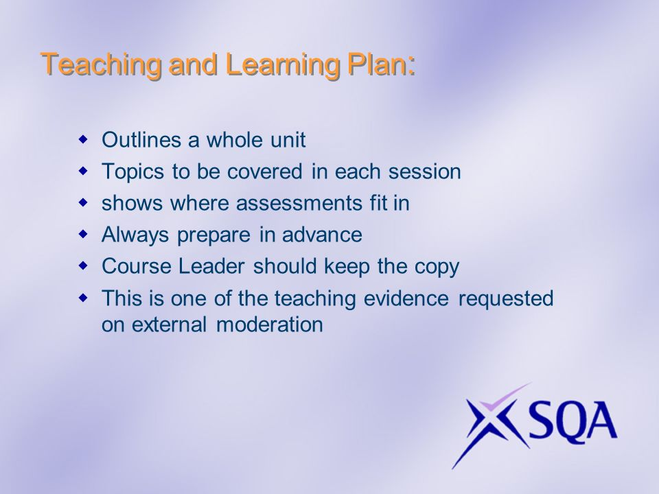 Teaching and Learning Plan: