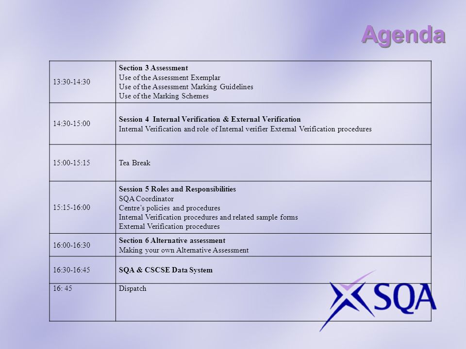 Agenda 13:30-14:30 Section 3 Assessment Use of the Assessment Exemplar