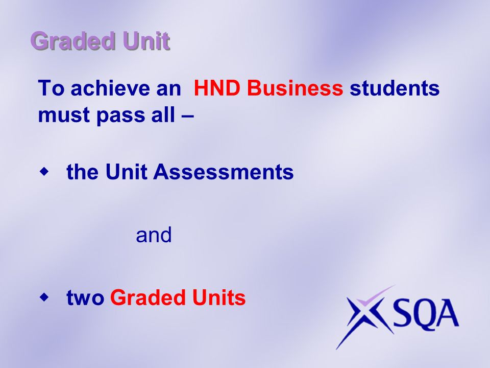 Graded Unit To achieve an HND Business students must pass all –