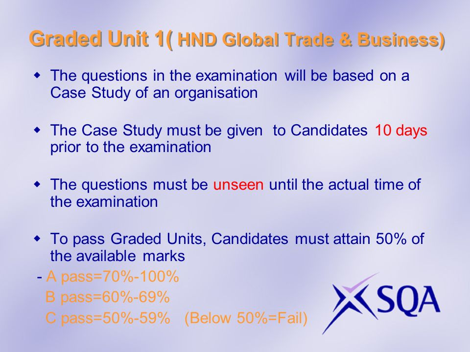 Graded Unit 1( HND Global Trade & Business)