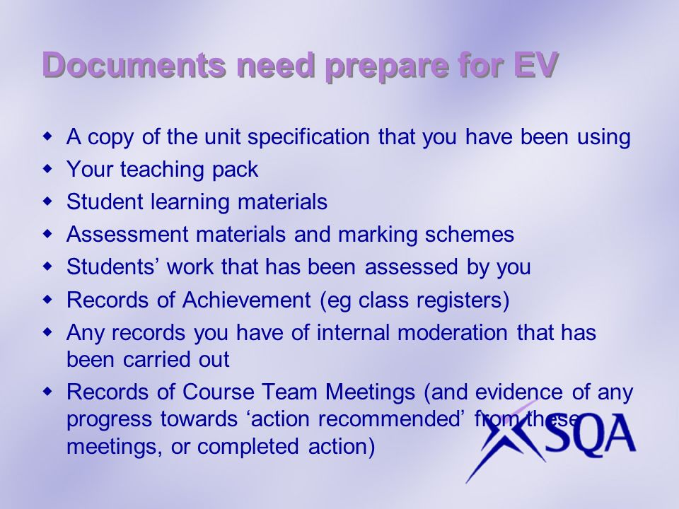 Documents need prepare for EV