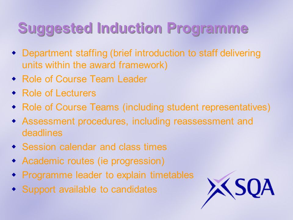 Suggested Induction Programme