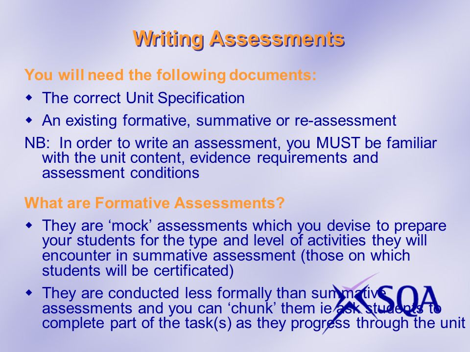 Writing Assessments You will need the following documents:
