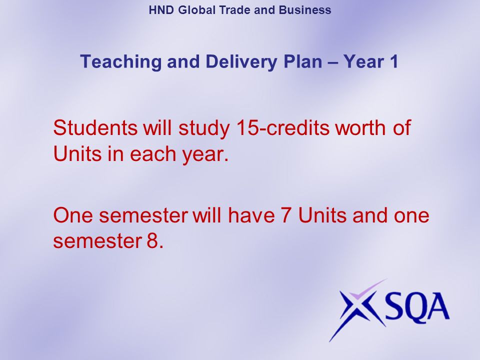 Teaching and Delivery Plan – Year 1