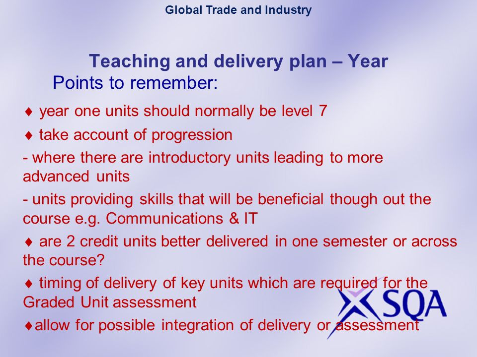 Teaching and delivery plan – Year