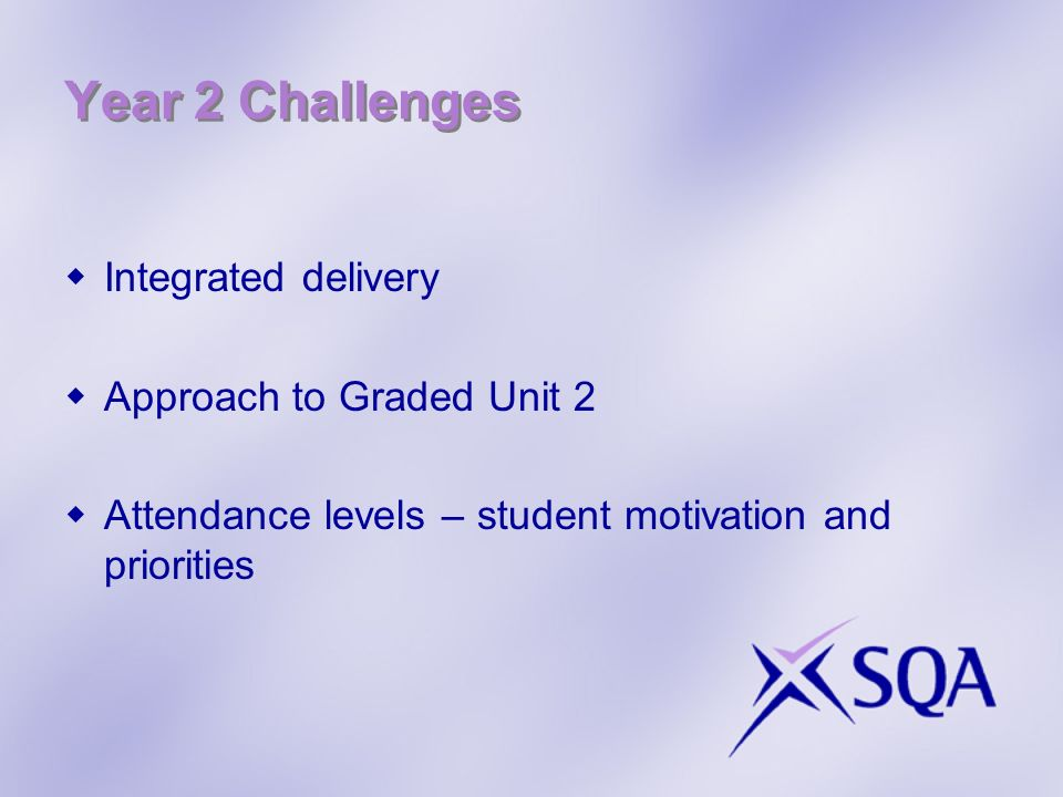 Year 2 Challenges Integrated delivery Approach to Graded Unit 2