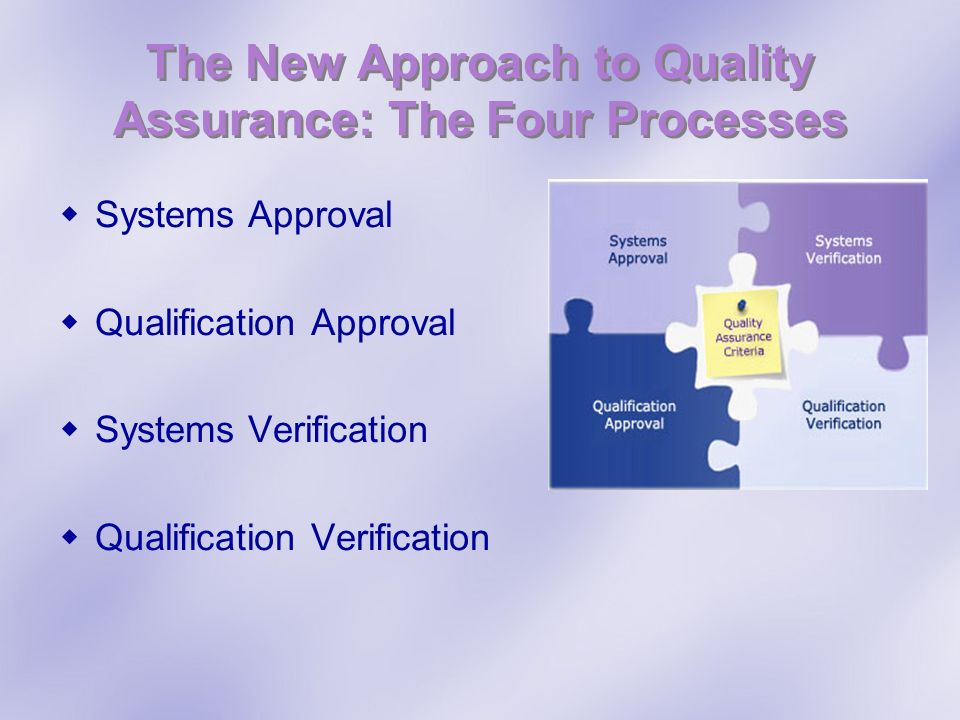 The New Approach to Quality Assurance: The Four Processes