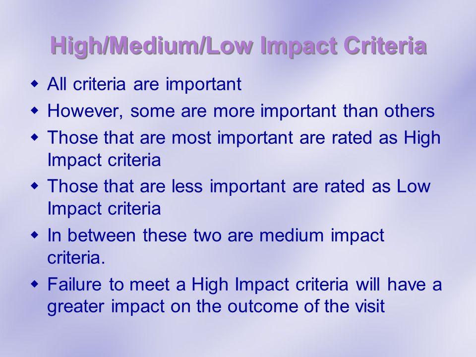 High/Medium/Low Impact Criteria