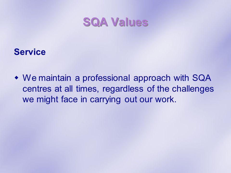 SQA Values Service.