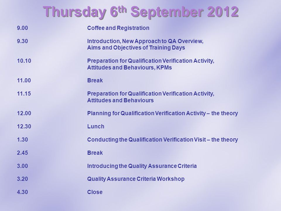Thursday 6th September 2012 9.00 Coffee and Registration