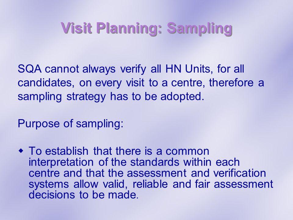 Visit Planning: Sampling