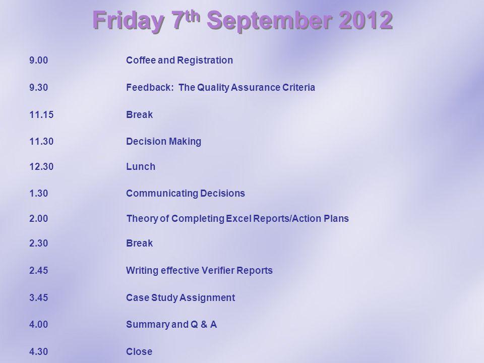 Friday 7th September 2012
