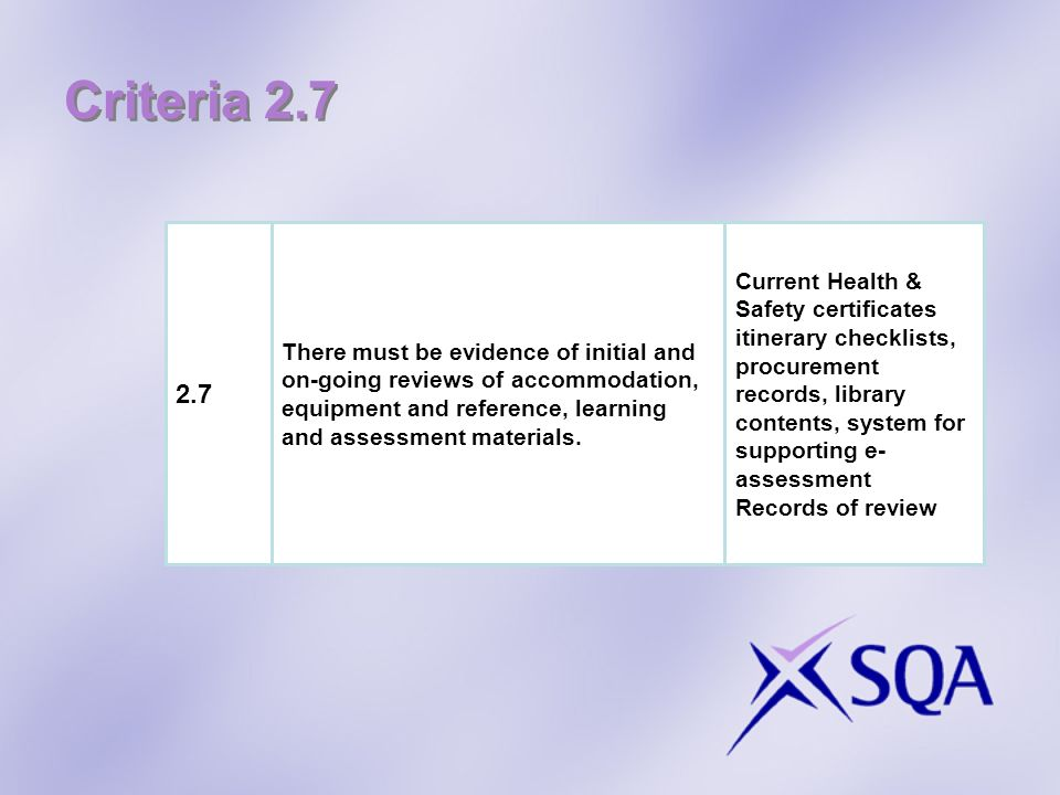Criteria 2.7 2.7 Current Health & Safety certificates