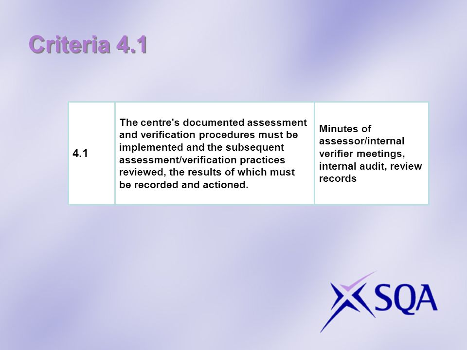 Criteria 4.1 4.1.