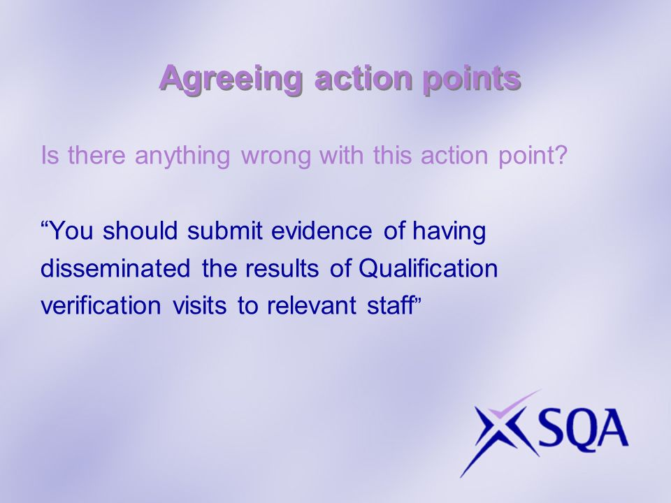 Agreeing action points