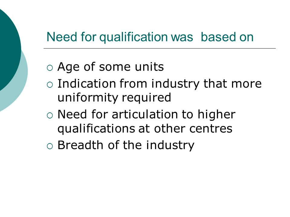 Need for qualification was based on