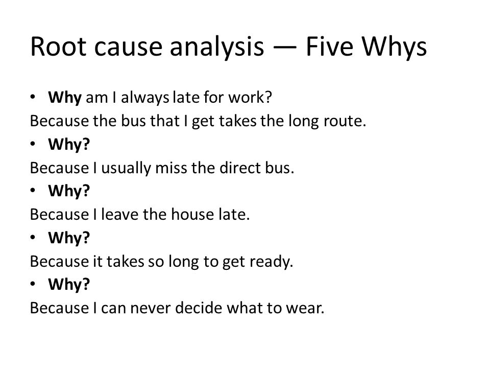 Root cause analysis — Five Whys
