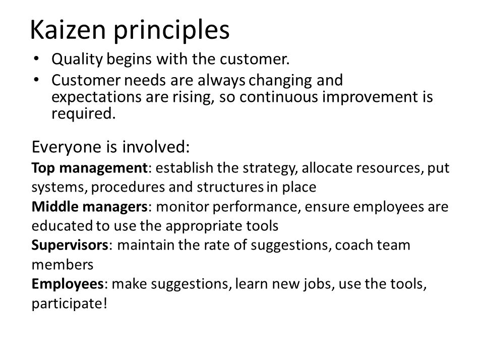 Kaizen principles Everyone is involved: