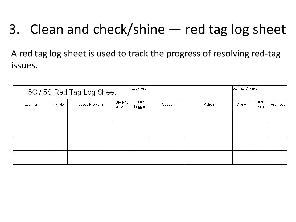 3. Clean and check/shine — red tag log sheet