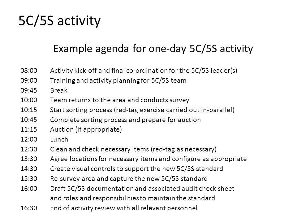 Example agenda for one-day 5C/5S activity
