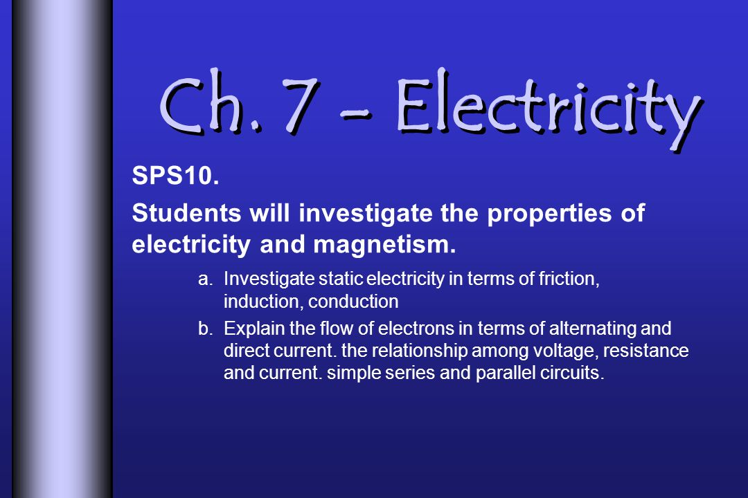 Ch. 7 - Electricity SPS10. Students will investigate the properties of electricity and magnetism.
