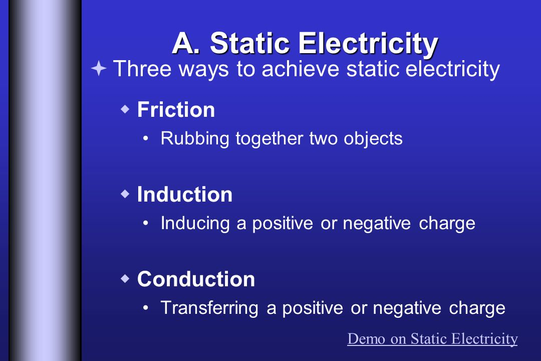 A. Static Electricity Three ways to achieve static electricity