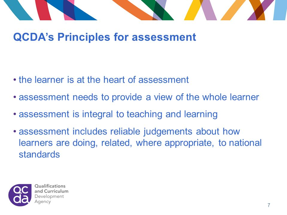 QCDA's Principles for assessment