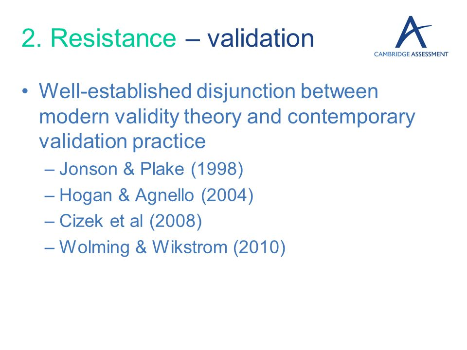 2. Resistance – validation
