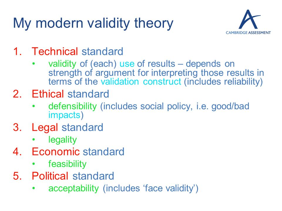 My modern validity theory