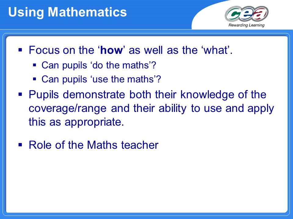 Using Mathematics Focus on the 'how' as well as the 'what'.