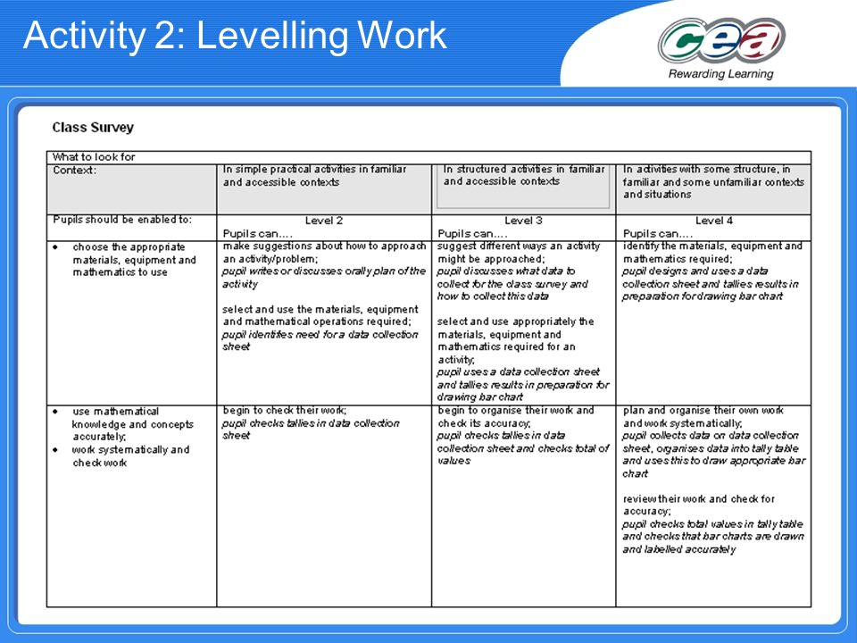 Activity 2: Levelling Work