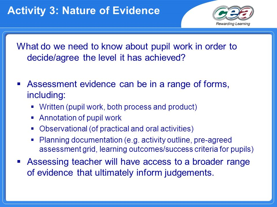Activity 3: Nature of Evidence