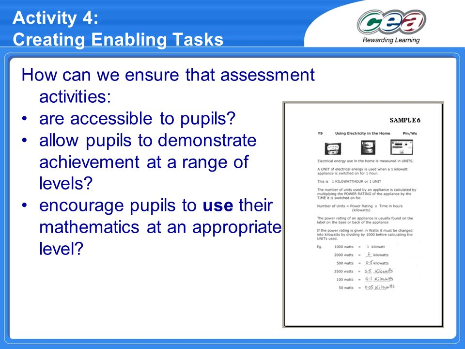 Activity 4: Creating Enabling Tasks