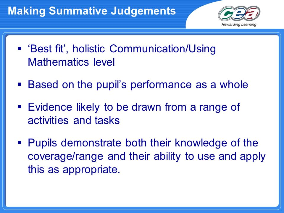 Making Summative Judgements